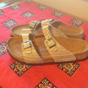 Birkenstock Papillio tan shiny weave sandals Sz 40